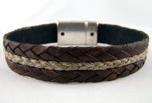 Bracelets de cuir plat, collection Chanvre