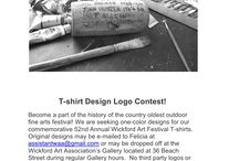 52nd Annual Wickford Art Festival / Logo Contest  We are now accepting logo designs for our 52nd Annual Festival T-shirt.  One color designs are requested. Please send in or drop off your designs by March 1st.   Looking forward to seeing your creative ideas!