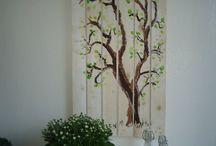 Onze familieboom / familieboom, de blaadjes zijn de vingerafdrukken van onszelf, kinderen en kleinkinderen