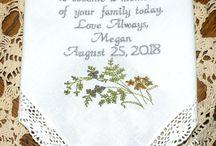 Wildflower Wedding / Wedding Gift Custom Personalized Embroidered Wedding Handkerchiefs by Canyon Embroidery @ ETSY. www.CanyonEmbroidery.ETSY.com #weddinghandkerchiefs #weddinggift