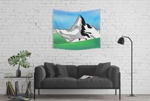 Mountians / A collection of line art and watercolor mountains from. Mountains of the world.
