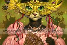 Cat Art / This is a collection of my decorative cat paintings. Each one is available in Giclee prints, canvas print, cards and bookmarks.