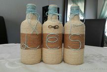 Wrapped wine bottles with twine
