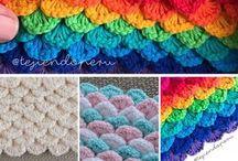 punto escamas , de crochet