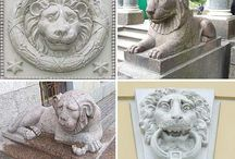 lions in sculptures