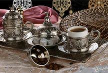Osmanlı Motifli MIRRA 2' Kişilik Kahve Seti - Gümüş Renk