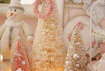 Christmas Glitter Houses & Bottle Brush Trees