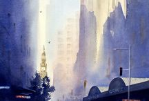 Watercolour: Cityscapes / watercolour paintings showing cityscapes