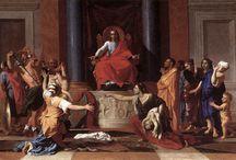 Tekenopdracht Schilders & Schilderijen. / Moodbord met plaatjes over de structuren van verschillende schilderijen van bijvoorbeeld Rembrandt van Rijn, Peter Paul Rubens, Nicolas Poussin en Rafael Sanzio