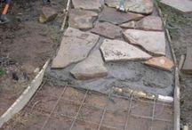 diy stone steps on hill