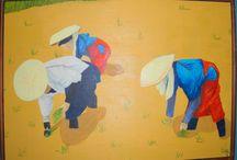 Mis pinturas / cuadros hechos a oleo, aguadas, tinta china, acrílico, tempera y acuarelas.