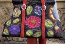 Crochet and felted bags, slippers etc