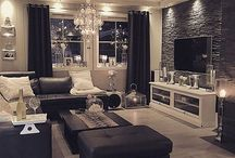 living room black white