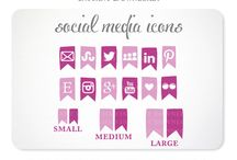 Social Media Icons / Social Media Icons for your blog or website & App Covers for Your Facebook Business Page / by Kelly Jane Creative