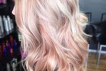 Rose gold balayage blondes