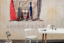 Stars & Stripes Wallpaper Collection / Stars and Stripes is a cool contemporary selection of stylish wallcoverings from Coordonne of Barcelona. As the name would suggest it has an American flavour featuring iconic sporting images that are ideally suited to teenagers and young-minded adults alike.