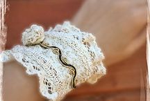 Handmade lace bracelets / Lace bracelets beautified with beads and pearls