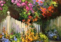 ДАЧНЫЕ МОТИВЫ В ЖИВОПИСИ / Красивые виды, садовая тематика, коттеджи и природа....