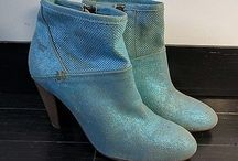 Blue leather cowboy ankle boots