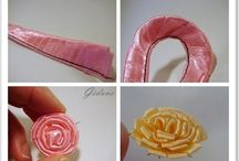 Paper and ribbon flowers