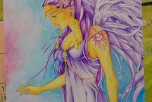 Aquarelles, peintures, arts et loisirs créatifs / Aquarelles sur feuilles épaisses, acryliques sur toiles, divers dessins, loisirs créatifs