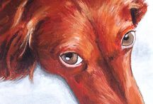 """Fred's Dog Portrait Paintings / Creating professional dog portraits from photographs or from live sketches. Painting sizes vary from 8"""" X 10"""" up to 18"""" X 24""""and are all hand painted in acrylic paint and on a stretched canvas."""