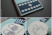 Alben / Hübsch verzierte Fotoalben zur Geburt u. a. mit Produkten von Stampin' Up!
