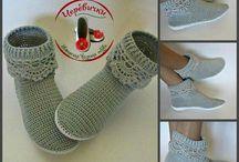 buty na szydełku, drutach
