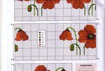 Kwiaty haft krzyżykowy / Kwiaty na serwetki, bieżniki, obrusy itp