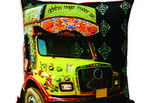 """Dekho Magar Pyar Se! / Celebrate """"Truck Art"""" with our quirky range """"Dekho Magar Pyar Se""""! This collection inspired by the grafitti and messages on trucks on the roads of India, is launched across a variety of product range which include Rectangle Jhola Bags, Coin Pouch, Trays Decoupage, Mugs, Coasters, Cushion Covers, Tissue box and Décor Artefacts."""