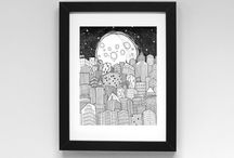 Inkjet Prints / must dash illustration fine line pen drawings. Available as A4 and A5 inkjet prints.