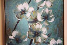festmény virágok fák