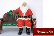 LIFE SIZE SITTING SANTA CLAUS AND FUNNY REINDEER CHRISTMAS BENCH!