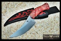 Persian knife / Steel: N690 (440) stainless (hardness - 59 HRC) Thickness: 3,2 mm Length: 189 mm Handle: red stabilized curly birch , brass mosaic pin, brass pins Sheath: hand stamped leather  www.tauroknives.com www.facebook.com/TAUROKNIVES www.etsy.com/TAUROKNIVES