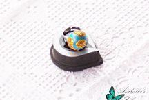 Anello regolabile con mini mondo fatto in fimo