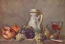 NATURE MORTE / La nature morte est un thème artistique qui se caractérise par la représentation peinte d'objets inanimés sur la toile (Fleurs, fruits, animaux)