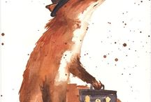 foxes and fiction, words and wildlife / two of the things I love, one board / by Sarah Davis
