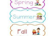 Skole/ barnehage Årstider / Bilder, kalendere til å skrive ut og henge opp.