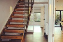 Timber Stairs with Glass Balustrade / Ideas and recent projects, showing various glass panel designs and styles of staircases from oak closed treads to open risers.