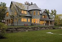 Shingle Style Home Exterior / The style originated around the turn of this century and is characterized by a covering of shingles on the exterior walls.  Gable roofs and dormer windows are common.