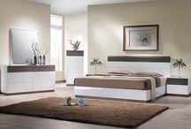 Modern Walnut Veneer White Walnut Bedroom Collection