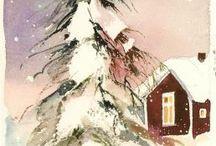 christmas watercolours