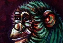 Dan Civa - Animal Art / My animal motifs are inspired from visits in sanctuary  areas and zoos in Africa, Sri Lanka and Thailand. See the gallery/collection of MONKEY PORTRAITS  in Saatchi Online.
