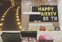 Romantic Silver Wedding Decor @ Bedroom / It's something you can do by yourself to surprisw you parents' 25th wedding anniversary @their bedroom while they're having their dinner ♥