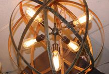 Metal Sphere Hanging Lights with Thomas Edison Bulbs / Industrial Sphere Chandelier Metal strap Globe Hanging Light with 1, 3, 4, 5 or 12 Thomas Edison Style Bulbs.  These are Wine Barrel Orb Globe Chandelier Hanging Spheres