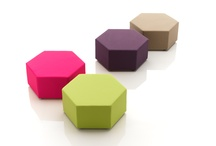 ESA, the minimalist pouf / Hexagonal-shaped pouf for creating arrangements in a variety of colours and shapes bu joining together several elements..In polyurethane foam and fabric upholstery. A design of Kazuhide Takahama, 1968.