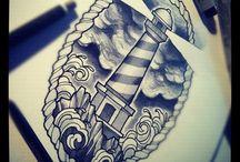 Sparrow/Swallow/Light house & Nautical stars tatts
