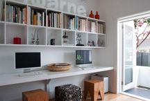 Book shelves and desks