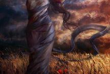 Digital art, Gothic art, Fantasy Art / surrealism in 21century cyperpunk,castlevania fan art