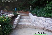 Retaining walls and stairs